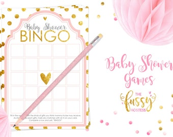 BINGO Baby Shower Games, Baby Bingo, Baby Shower Game, Shower Games, Printable, Instant Download Games, Girl Shower, Pink and Gold
