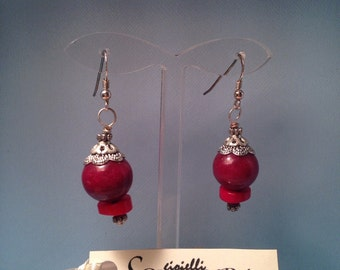 Earrings in silver. 925 agate and coral