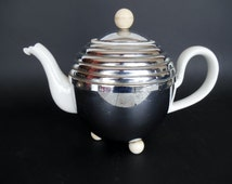 Vintage Teapot The Simplex - Retro Teapot and Cosy Chromium Plate Guaranteed Solid Copper and Bakelite Knobs Patent No 488458 - UK 1960s