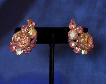 Vintage Rhinestone Earrings Hallmarked Patent Pending