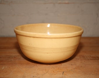 Butter-Hued Mixing Bowl with Faint Stripes