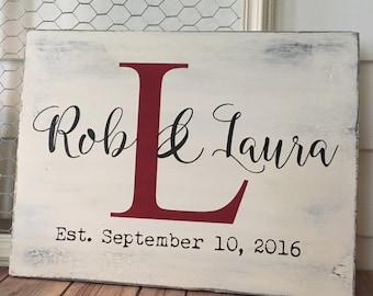Custom Wedding Sign | Wedding Couple | Initial | Wedding Date | Wedding Gift | Rustic Decor | Home Decor