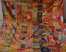 Red One of Kind  Queen  Size Vintage Patchwork Kantha Handmade kantha Quilt Bed Spread Cotton Kantha Tapestry