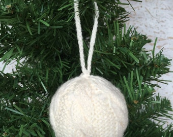 Knitted Cable Bauble,Knitted Christmas Bauble,Handmade,Cable Pattern,Christmas Decoration,Knitted Christmas Decoration,