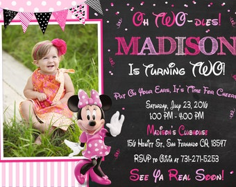 Minnie Mouse Invitation Printable, Minnie Mouse Birthday Party