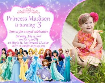Disney Princess Invitation Printable, Disney Princess Birthday Party