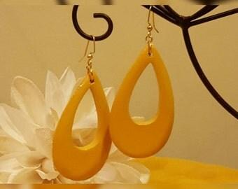 Wooden Marigold Colored Teardrop Earrings