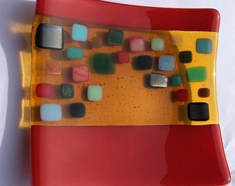Red and yellow fused glass bowl  with coloured squares