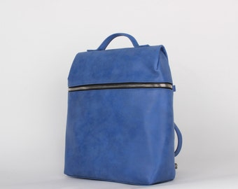 Blue vegan leather backpack, stylish faux leather backpack.