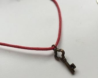 Key charm bracelet, charm bracelet, cord bracelet, key heart bracelet, key charm, bohemian,  gifts for her, friendship bracelet