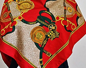 Italian equestrian scarf in red and gold tones