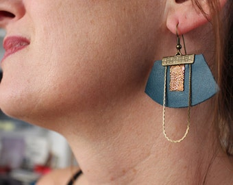 Earrings leather and brass