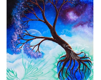 "Poster 12 ""x 18"" visionary art, tree, Earth, breath of life, consciousness"