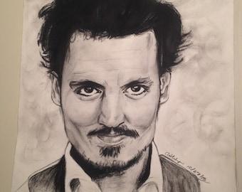 Portrait of Johnny Depp (print, not original)