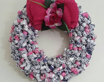 Pink blue & white curly paper wreath
