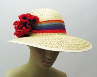 Beach Hat Straw Wide Brim Sunhat Rainbow SMALL