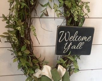 Welcome sign, greenery wreath, grapevine wreath, door wreath, farmhouse wreath, home decor, shabby chic decor, gift, extra large wreath