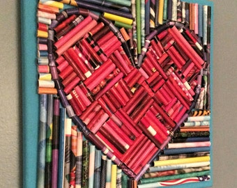 Recycled paper heart mixed media, mosaic