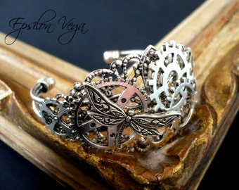 Steampunk gears and dragonfly bracelet