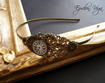 steampunk hairband with gears and tiny pocket watch