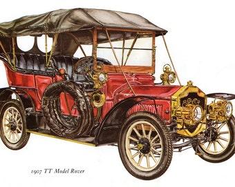 Antique Car Vintage Bookplate Print *1907 Rover TT Model* Vintage Motorcars Colorful, Detailed Peter Griffin Illustration Drawing Home Decor