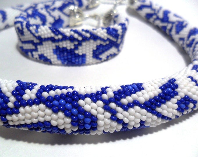 Gzhel style jewelry russian ethnic ornament white blue jewelry set gift for her flower folk rope unusual gift fairy floral gentle crochet