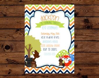 Woodland Creature Birthday Party Invitation