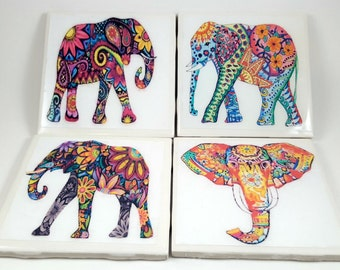 Elephants-Colorful Elephants/Tile Coasters/Indian Elephant/Tribal Elephant/Gift for home/Coasters/Barware/Drinkware/Christmas Gifts/Paisley
