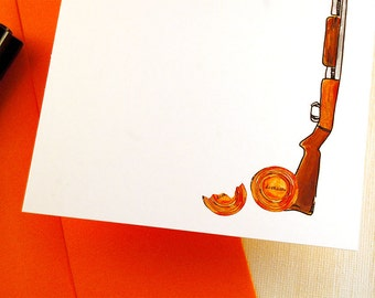 Personalized Stationery Sets, Father's Day Gift, Shotgun Gone Hunting Flat Note Card Custom Stationery Sets For Him, Thank You Set of 12