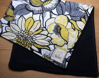 Black & Yellow Floral Burp Cloths