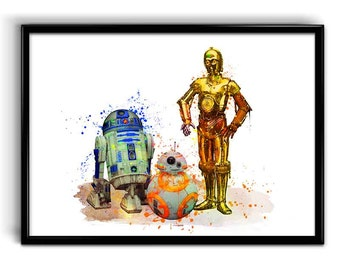 Star Wars r2d2 c3po BB8 instant print Watercolor poster Instant Digital Download Star Wars Nursery decor, Star Wars droids watercolor print