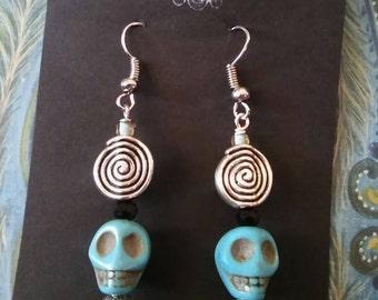 Turquoise spiral skull drop earrings