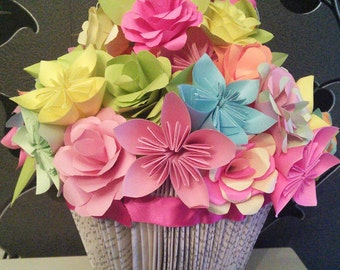 Vase made from folded book with handmade paper flowers