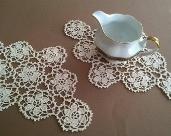 Doilies crocheted,  Rhombus doily,  Vintage 1972,  Crocheted Doilies,  Handmade Doilies,Set two doilies
