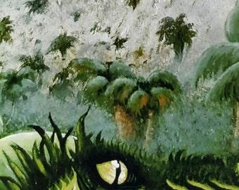 Fogging Mountains - acrylic painting - lizard painting - iguana art - dinosaur painting - mounted digital print