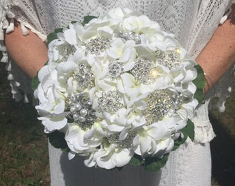 White Hydrangea Crystal Brooch Bouquet