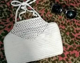 Crochet Halter Bikini Top - Venice