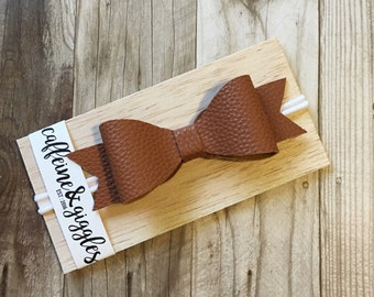 Cognac Brown Bow || Caramel Faux Leather Baby & Toddler Hair Bow {OSFM Headband}