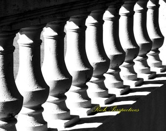 White Balustrade, wall art, abstract, B&W, contrasting design, architecture, bsunny