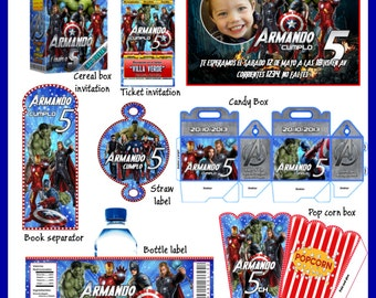 Avengers Party Package, DIY, Printable Party Kit, Invitations, Banner, Favour Box, Labels, Wrappers, Candy Box, Instant Download !