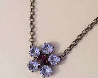Purple Flower Swarovski Crystal Necklace