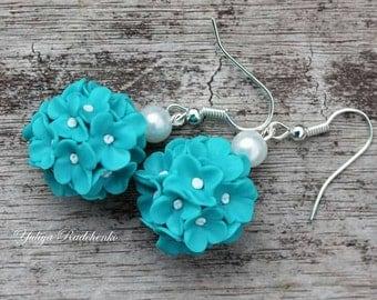 Polymer Clay Errings, Flowers Errings, Turquoise Errings