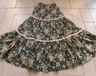 Vintage JO-YANA Floral Print Maxi Skirt       Sz 7/8