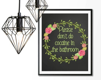 funny bathroom sign, funny quote print, bathroom wall decor, don't do cocaine, 8x10 print, bathroom sign, hug dealer, bathroom art,funny art