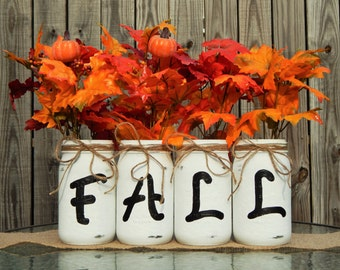 FALL Mason Jar Centerpieces. Autumn Decorations. Rustic Farmhouse. Fall Wedding Ideas. Distressed Vases. First Time Home Buyers. Home Decor