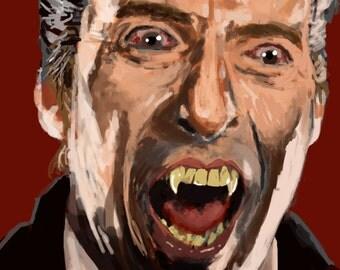 Christopher Lee as Dracula Digital Painting Print