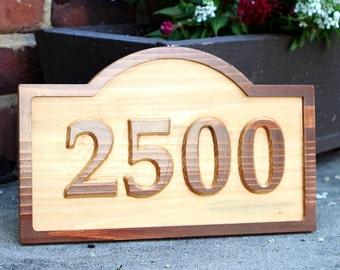 Carved Cedar House Number sign