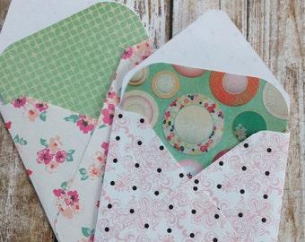 Mini Envelopes with Note Inserts/Retro Style Note Cards with Envelopes and Seals/Mini Envelopes with Insert Cards/Floral Envelopes/Set of 8