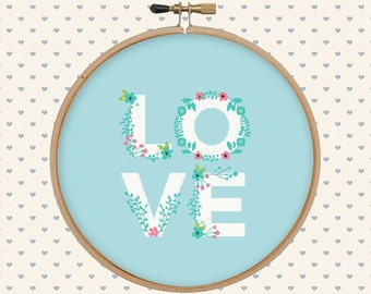 Love cross stitch pattern pdf - instant download - digital download - flower, lettering - pillow embroidered