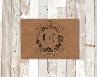 PRINTED: Rustic Kraft Linear Floral Wreath Save the Date - Boho, Wildflower, Wreath - Customisable - Full Set Available